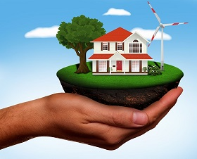 Energiespeicher Haus Hand
